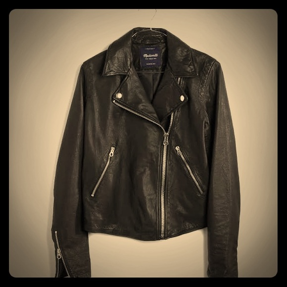 wide range release info on utterly stylish Madewell Jackets & Coats | Womens Washed Leather Motorcycle Jacket ...